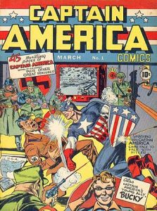 Captain America punches Adolf Hitler. Issue #1