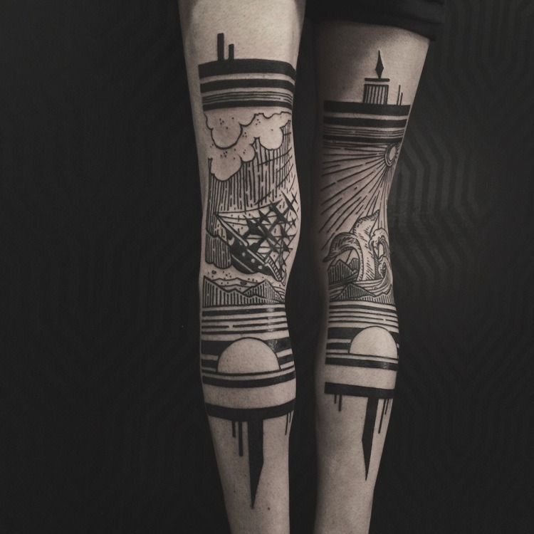 Sequence of ship and whale tattoos on female's calf