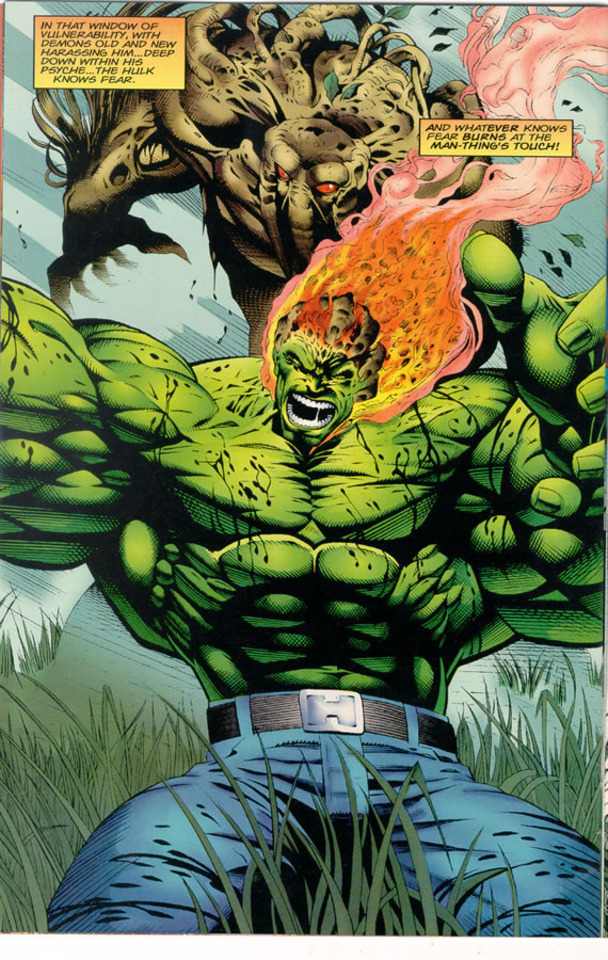 Hulk burns at the touch of Man-Thing