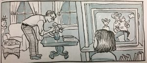 Picture her is young Alison Bechdel watching a gun fight on television and her father arrange flowers