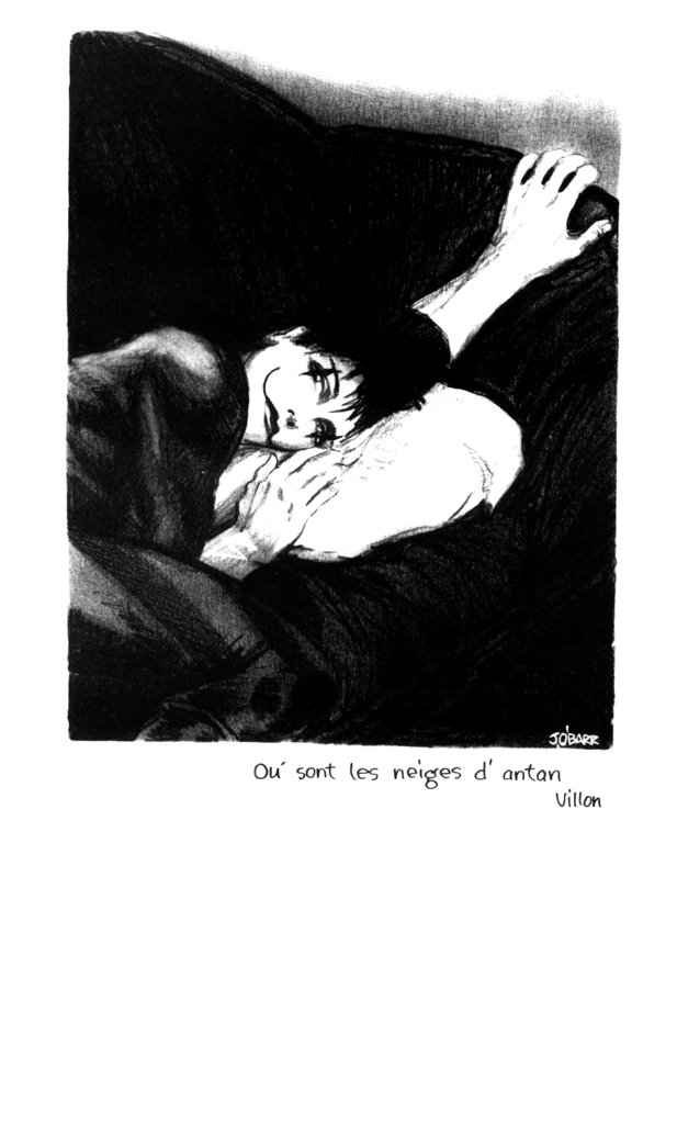 A page from The Crow. Eric Draven is laying on his belly with his head on a pillow and his arm outstretched above him.